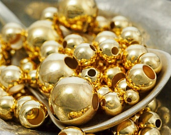 50 Gold Plated Smooth Round Beads - You Pick Size 2.5mm, 3mm, 4mm, 5mm, 6mm, 7mm, 8mm, 9mm, 10mm or Mix