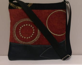 Fabric and Black Leather Tote