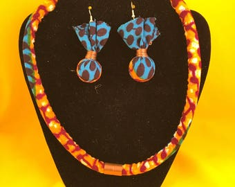Ankara African Jewelry Set, Ethnic Jewelry Set, Unique Jewelry, African Jewelry, Sustainable Jewelry, Handmade Jewelry, African Fabric