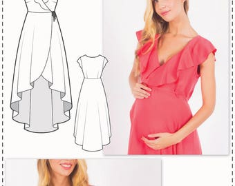 Maternity Sewing Patterns - Pregnancy Dress Patterns - Sewing Tutorial - Wrap Dress Pattern - Flounce Dress Pattern - Womens Sewing Patterns