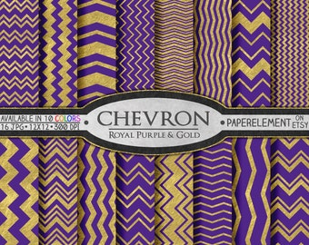 Royal Purple & Gold Chevron Paper Pack - Chevron Digital Scrapbook Paper for Birthdays, Graduation and Weddings - Instant Download