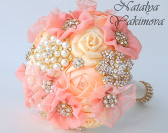 Brooch Bouquet, Bridal Bouquet, Wedding Bouquet, Fabric Bouquet, Unique Wedding Bridal Bouquet, Gentle peach, For her, Flowers on a wedding