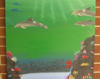 Dolphin Painting Large Dolphin Beach House Coral Reef Dolphin Art Dolphin Decor Beach Decor Green Art Teal Art