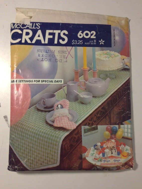 McCalls Crafts Sewing Pattern 602 Table Settings for Special Days Sale