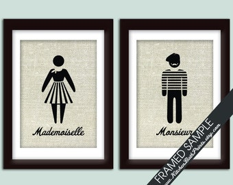Mademoiselle and Monsieur Bathroom Prints (series B) - Set of 2 -Art Print (Featured in Linen with Black)