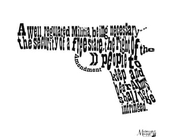 Second (2nd) Amendment Hand Gun Word Cloud SVG