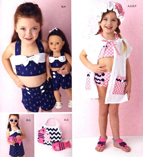 Mädchen retro Badeanzug Spielanzug Puppe Muster Sommer Mode