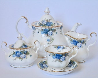Royal Albert England Moonlight Rose Bone China Tea Serving Set, Tea Pot, Creamer, Sugar Bowl