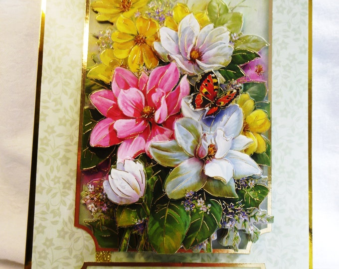 3D Decoupage Floral Birthday Card, Handmade Card, Pink Yellow and White Flower, Butterfly, Special Birthday, Any Occasion,