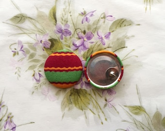 Oversized Button Earrings / African Print / Statement Jewelry / Small Gifts / Bright Colors / Handmade Earrings / Vintage Inspired / Orange