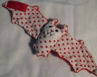 Red Stars on White on Red Fur 4th of July Bat Cup Sleeve, Stuffed Animal, Coffee Cozie