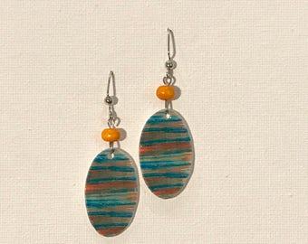Aqua Orange Stripe Earrings