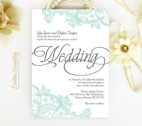Lace Wedding Invitations Printed On Pearlescent Paper