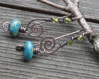 Turquoise Swirls with Faceted Glass Bead Accents