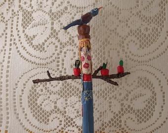 Mr. Scarecrow, OOAK Folk Carving