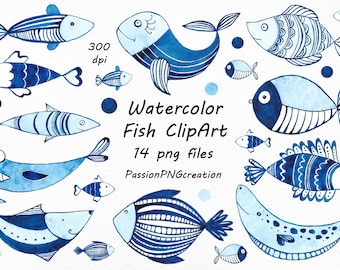 Watercolor Fish Clipart Transparent Background Clip Art Watercolour Variety PNG