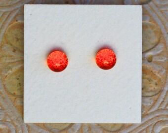 Dichroic Glass Earrings, Petite, Orange  DGE-1256