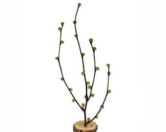 Eco-friendly Rustic Twig Peridot Glass Green Bonsai with Oak Base Centerpiece by Tanja Sova