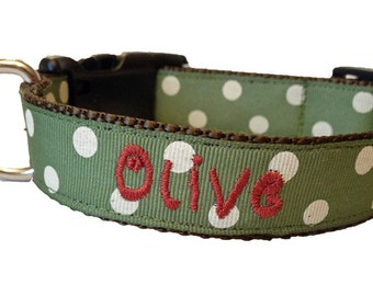 Olive Green Dog Collar, Personalized Collar, Custom Dog Collar, Embroidered Collar, Puppy Collar, Monogrammed Dog Collar