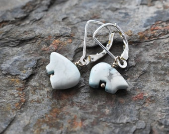 Blue Polar Bear Earrings- Gemstone Bear Earrings- Dyed Magnestite Jewelry - Animal Nature Zuni Bear Jewelry- Sterling Leverbacks