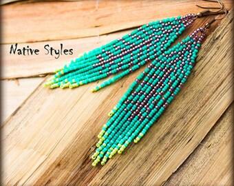 "4""Seed Beaded Feather Earring,Native Indian Style Turquoise ~Bohemian Leaf Seed Bead Work~Long Bohemian Fringe~Native American Inspired BOHO"