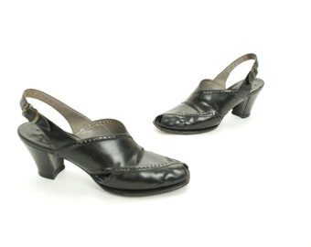 Vintage 1940s Shoes - Smashing Glossy Black Leather 40s Slingbacks with Perforations and Cuban Heel Size 7.5 8