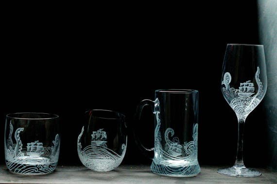 Kraken and ship Whiskey/ Wine/ tankard glass, MADE TO ORDER