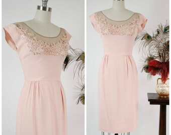 Vintage 1960s Dress - Hot 60s Dorothy O'Hara Cocktail Dress with in Pink Crepe and Nude Mesh, with Applique and Beads Incredible Collection