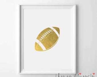 Football Gold Foil Print, Gold Print, Sports Ball in Gold, Art Print, Gold Print, Gold Foil Art Print, American Football Gold Print