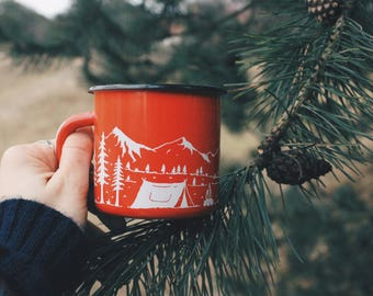 Enamel Camping Mug With Mountains and Van | Camp | Mountains | Campfire | Gift | Travel