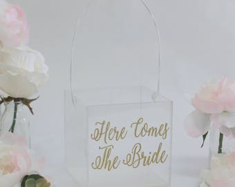 Clear Flower Girl Basket Acrylic Wedding Here Comes The Bride Glitter Gold Calligraphy Modern Simplistic Plastic Glass Look (BBND20181)