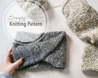 Knitting Pattern // Double-Knit Twisted Turban Headband Pattern // Knit headband // Beginner's Pattern // Simply Maggie