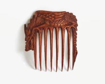 Hair accessories for women inspirational womens gift girlfriend gift hair comb wood hair pin hair pick fork large barrette Oriental dragon