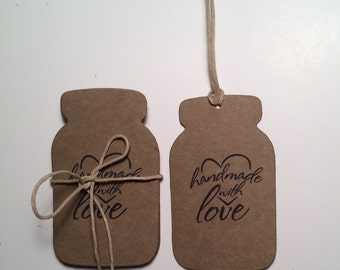 "Kraft Mason Jar Tags Labels"" Handmade with Love"" / Mason Jar Paper Tags / Favor Tags / Labels  / Custom Tags / Set of 12"