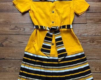 1960s knit mini dress marigold yellow pleated skirt / small - medium