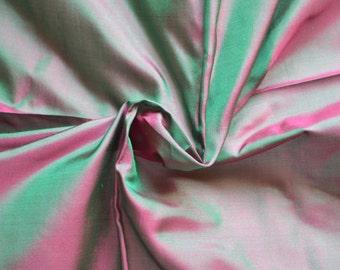 Fine Indian Silk Taffeta in   Magenta and green -  fat quarter -TF 90