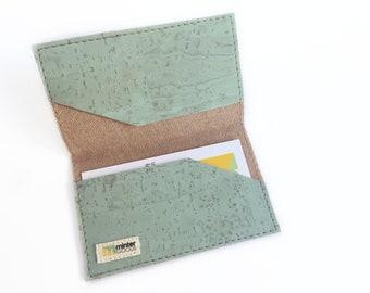 Cork business card case, pale minty green cork fabric. Card case. Card holder. Stocking stuffer.