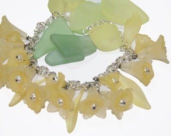 Bracelet All Yellow Lucite Flowers Charm Bracelet  White Pearls
