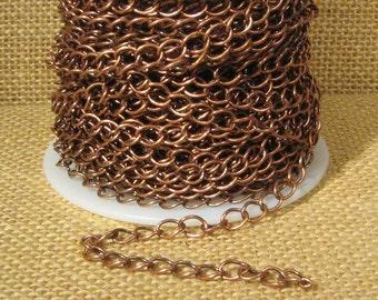 6.8mm Curb Chain - Antique Copper - CH47 - Choose Your length