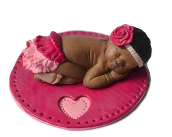 Baby gift, African American girl, Cake Topper, Nursery Decoration, Pink Rose headband, OOAK Baby, Reborn Doll, Maternity, Realistic Baby