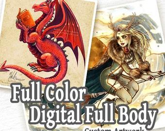 CUSTOM Full Color Digital Painting - 1 Full Body Character - Custom Art, Commissioned Art, Tattoo Design