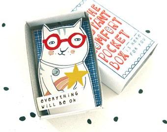 Kat met shooting star - The Instant Comfort Pocket Box - alles zal worden ok! -bericht in een doos - cheer up en troost box