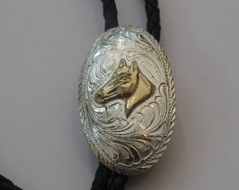 Silver Tone M&F Western Mexico Products Heritage Horse  Bolo Tie IC Lot 15