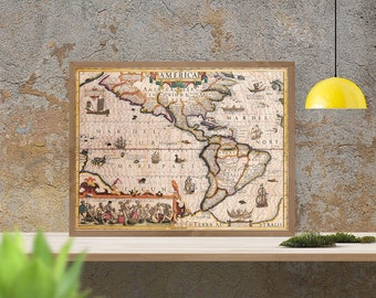 Antique map of North and South America, 1619,  huge map, fine reproduction, antique decor, fine art print