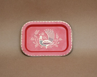 Vintage Jewelry Trays- Bright Coral and Gold Decorative Trays with Bird Motif