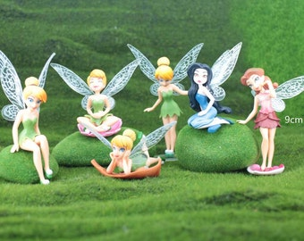 1 set of 6 Fairies Figurine, Terrarium Miniature, Fairy Garden Tiny Tinkerbell Cute lovely Accessory Toy Gift For daughter granddaughter