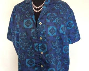 Vintage Blue Woman's Blouse - XL