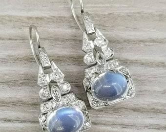 Stunning Platinum Moonstone and Diamond earrings
