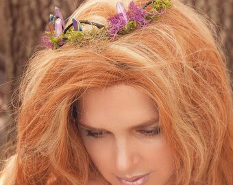 Crystal Crown, Elven Circlet, Fairy Crown, Fairy Circlet, Bridal Circlet, Crystal Tiara, Quartz Crown, Crystal Wands, Crystal Headband