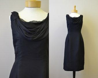 1950s Melbray Black Chiffon Wiggle Dress